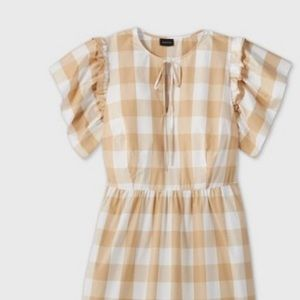 Who What Wear Plaid Check Short Bell Sleeve Dress